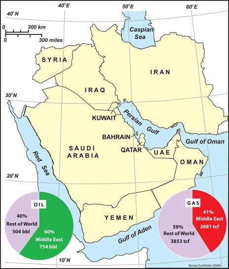 GEO ExPro Why So Much Oil In The Middle East - Us map imposed over mid east for size comparison