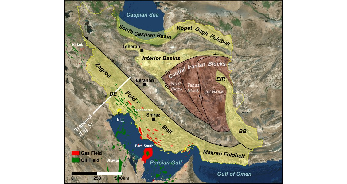 figure 3 schematic geotectonic map of iran showing major tectonic elements basins and hydrocarbon fields de dezful embayment eir east iranian ranges