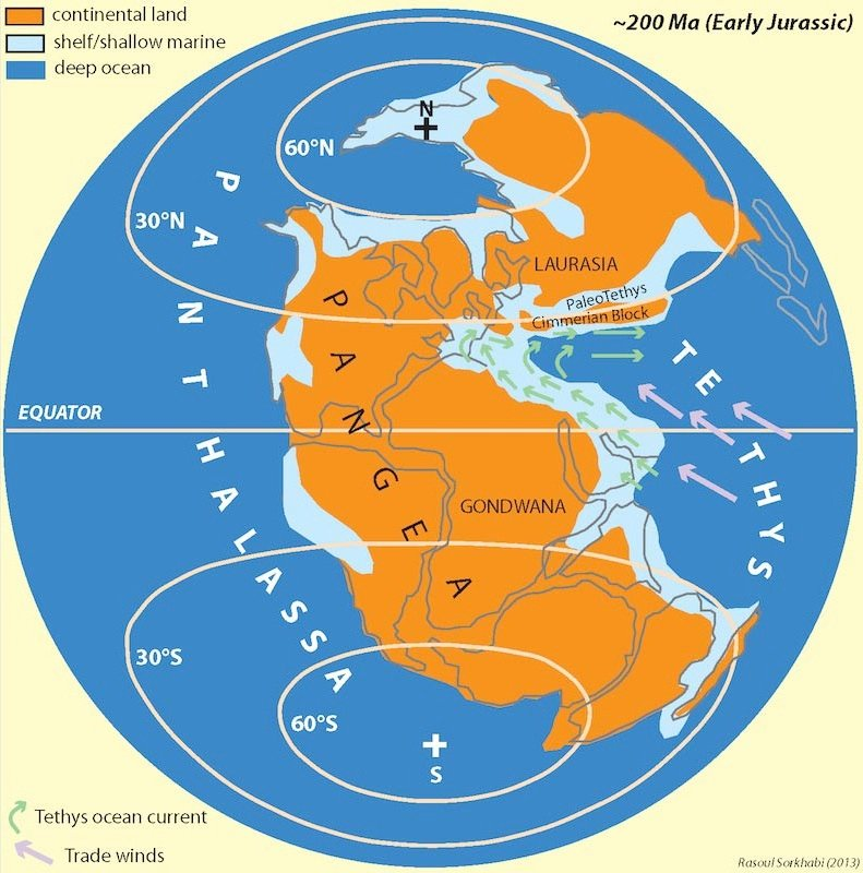 Geo expro why so much oil in the middle east world paleogeography in the early jurassic 200 ma when the middle east was part of gondwana passive margin and was submerged under the warm equatorial gumiabroncs Choice Image