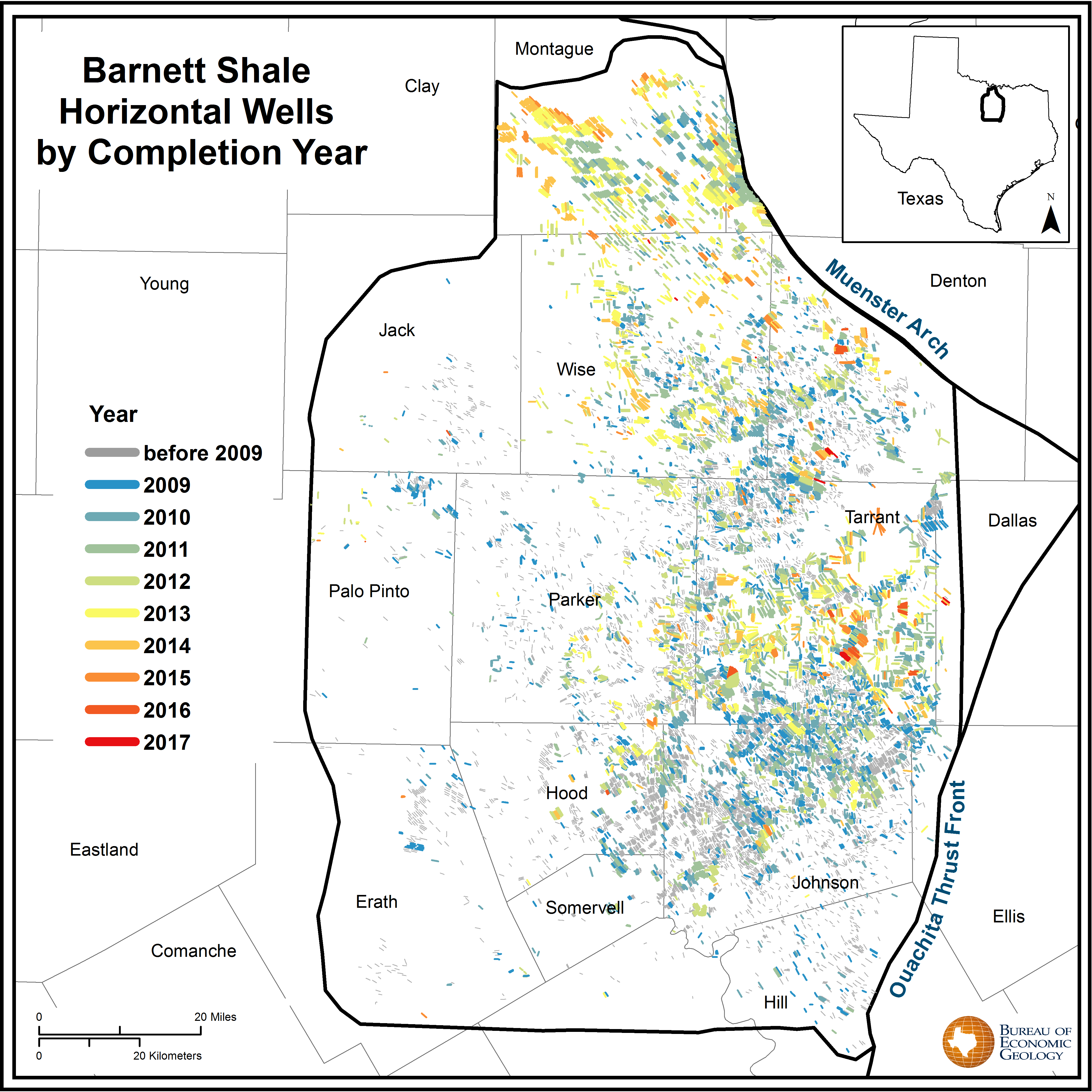 Geo expro newark east barnett shales spindletop drilling locations for the newark east barnett field over time most of the early barnett development occurred in and around wise county publicscrutiny Gallery