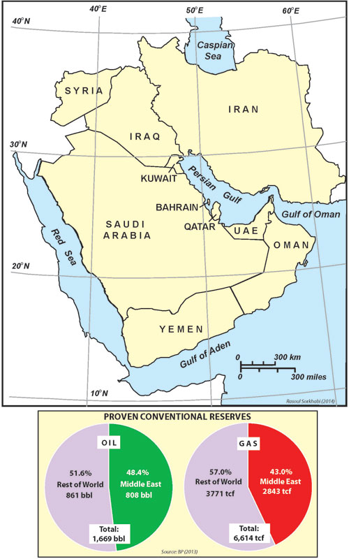 Geo expro how much oil in the middle east a map of the oil producing middle eastern countries and pie diagrams showing estimates of proven recoverable conventional oil and natural gas resources in gumiabroncs Gallery